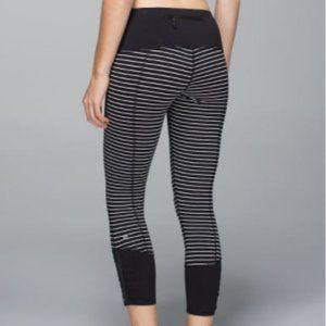Lululemon HTF Runday Crop Pants Black White Parallel Stripe 8